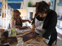 Despina teaching Janice the traditional Byzantine Icon-painting techniques