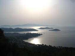 Sun rising over Skiathos Town and islands beyond