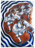 'Tsamiko' (a dance traditionally performed by Greek men). in acrylics on canvas, size 102 x 76 cm