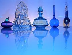 Glass Perfume Bottles - blue