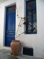 Skiathos town blue door