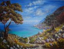 'Path to Kastro Beach' acrylics on canvas, 102 x 76 cm