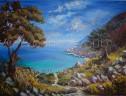 'Path to Kastro Beach' acrylics on canvas, 102 x 76 cm