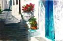 Turquoise Door in Plaka', watercolour on board, 30 x 40 cm