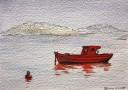 'Dawn Fishing', acrylics on board, 12 x 17 cm