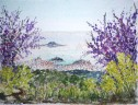 Skiathos town at Eastertime', acrylics on board, 20 x 30 cm